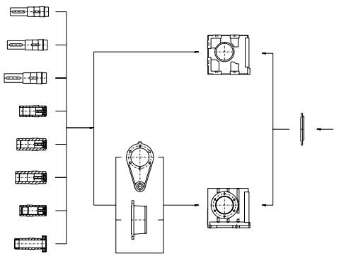 نقشه ورودی موتور گیربکس حلزونی هلیکال فلندر