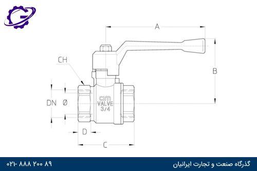 ابعاد شیر توپی یا شیر گازی سیم کد CIM10