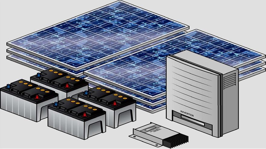 تصویر اجزای تشکیل دهنده سیستم فتوولتاییک