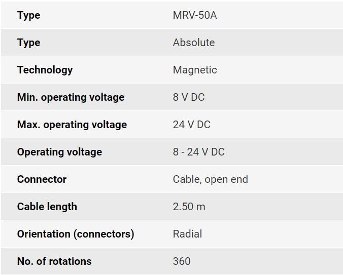 تصویر مشخصات فنی انکودر روتاری اپکن مدل MRV
