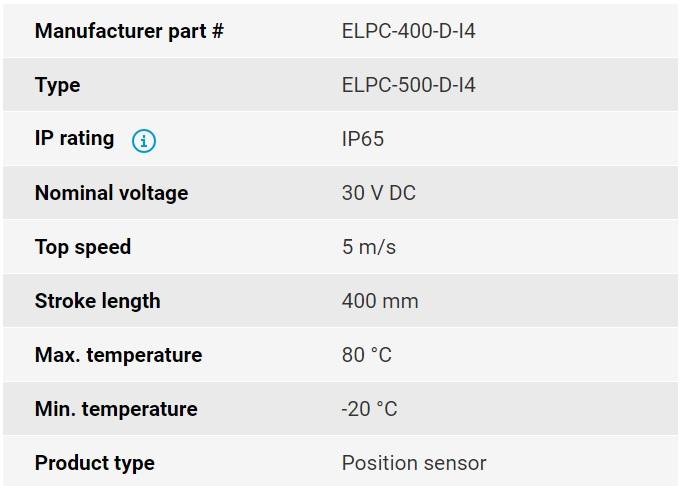 تصویر مشخصات فنی انکودر خطی اپکن مدل ELPC