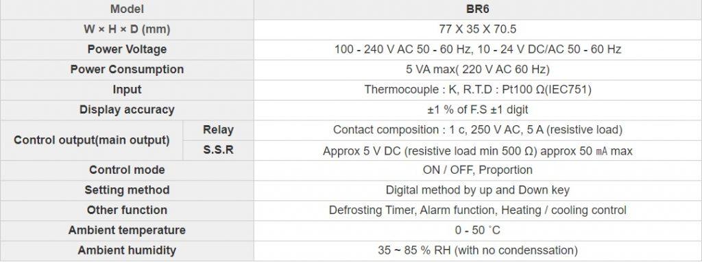 تصویر مشخصات فنی کنترلر دما Hanyoung مدل BR6