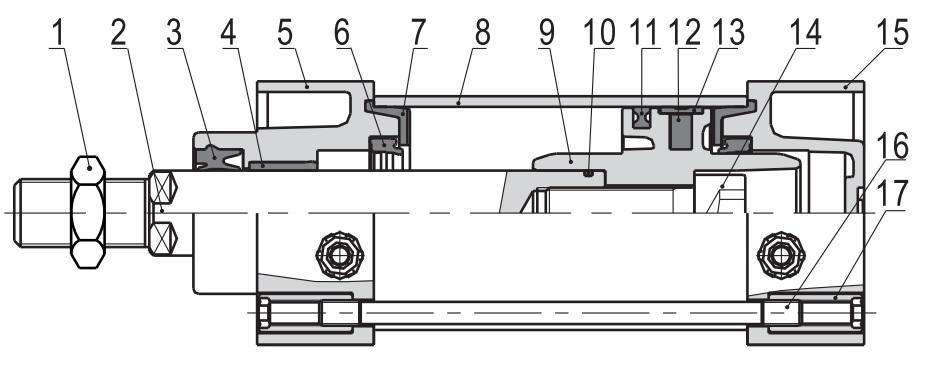 تصویر اجزای تشکیل دهنده جک دو طرفه ایرتک سری SC