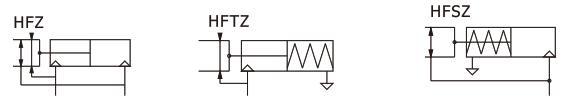 تصویر نماد شماتیک چنگک پنوماتیک سری HFZ