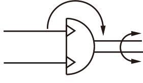 تصویر نماد شماتیک سیلندر چرخشی پنوماتیک ایرتک سری HRQ