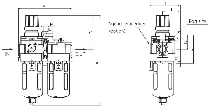 تصویر ابعاد واحد مراقبت SKP مدل  SAU 310، SAU 410