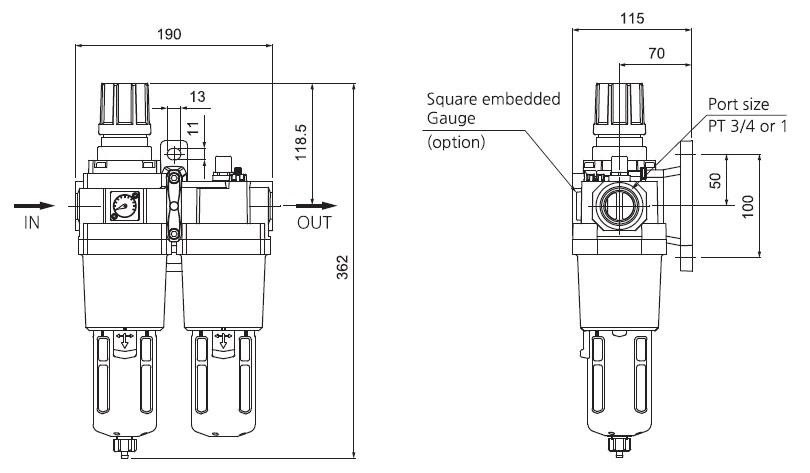 تصویر ابعاد واحد مراقبت SKP مدل SAU 610